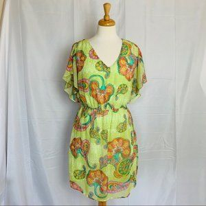PINK OWL Flutter Sleeve A-Line Dress - Large